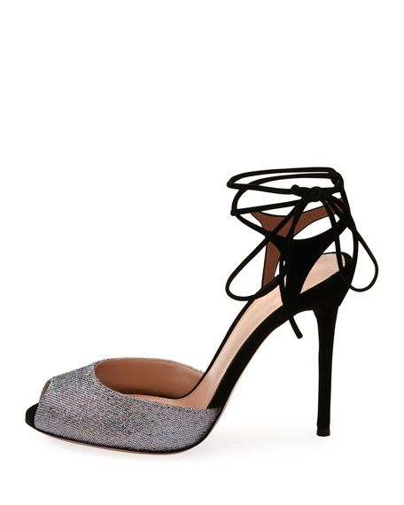 Muse Metallic Peep-Toe Ankle-Tie Sandals, Silver