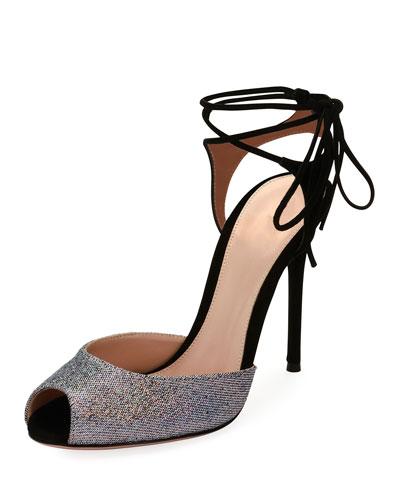 Muse Metallic Peep-Toe Ankle-Tie Sandal, Silver