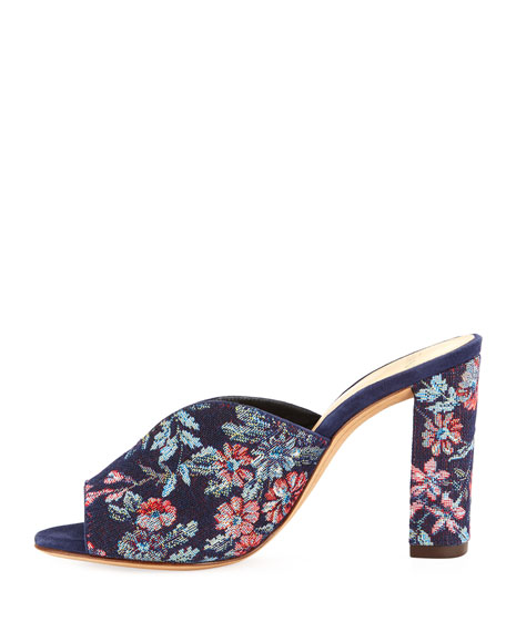 Georgia Brocade Mule Sandal, Blue Pattern