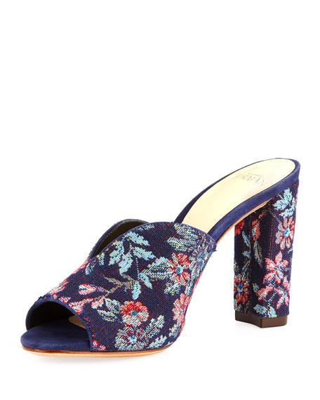 Georgia Brocade Mule Sandal, Blue Pattern