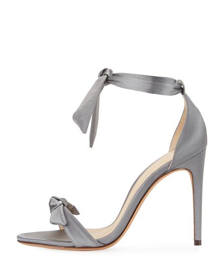 Clarita Satin Ankle-Tie Sandal, Gray