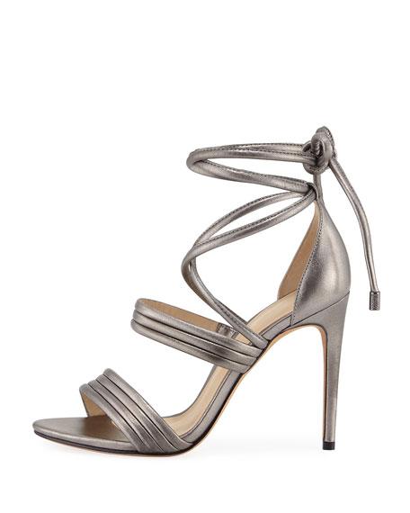 Isis Metallic Ankle-Wrap Sandal, Gray