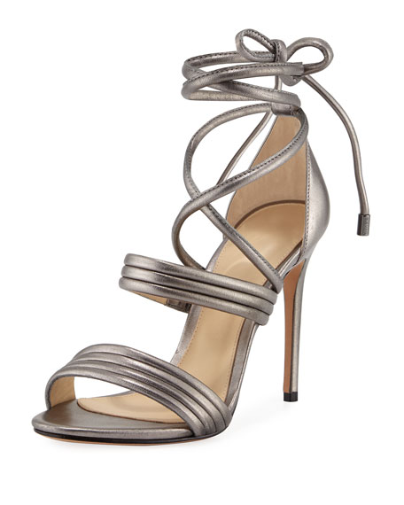 Alexandre Birman Isis Metallic Ankle-Wrap Sandal, Gray
