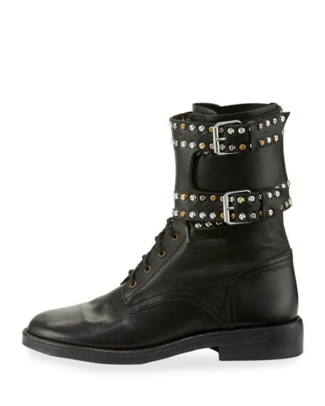 Teylon Studded Ankle-Cuff Moto Boot, Black