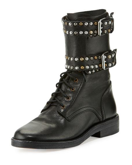 Isabel Marant Teylon Studded Ankle Cuff Moto Boots Black