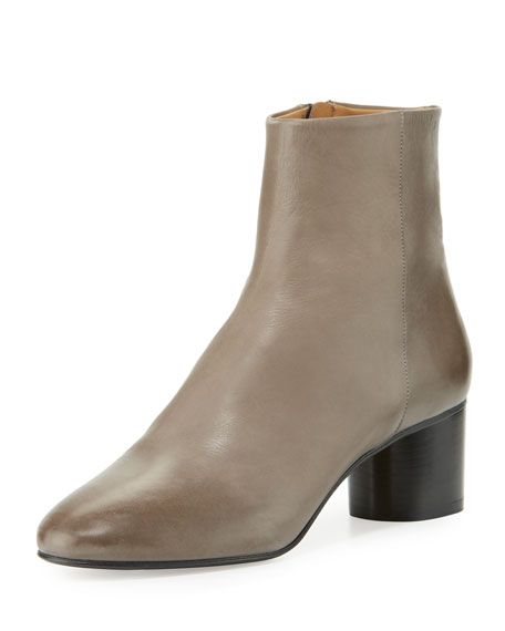 Danay Burnished Leather Ankle Boots, Gray