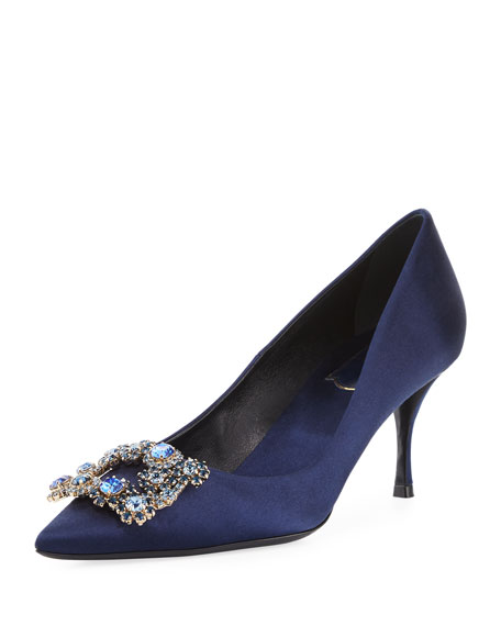 Crystal Buckle Satin Pump, Navy