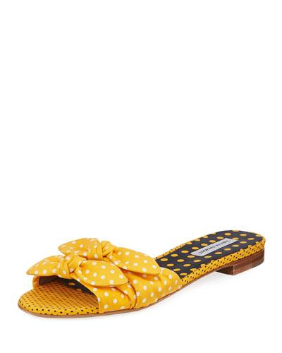 Cleo Polka-Dot Bow Flat Slide Sandal, Yellow