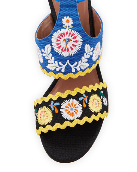 Thais Embroidered Ankle-Wrap Sandal, Black Pattern