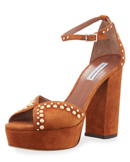 Julieta Studded Platform Suede Sandals, Camel