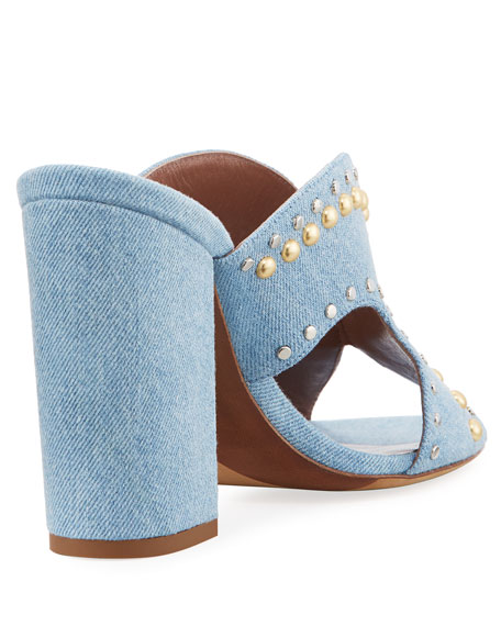Celia Studded Denim Mule Sandals, Blue