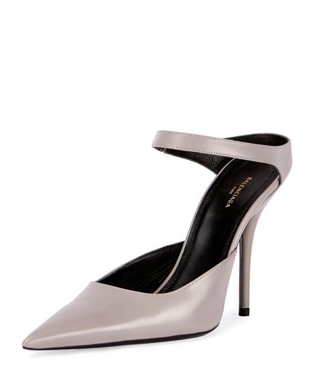 Leather Point-Toe Mule Pump, Gray