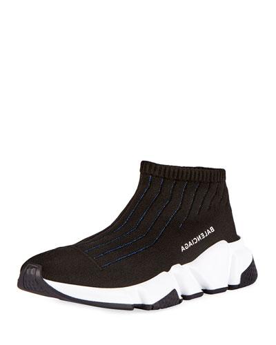 Knit Sock High-Top Sneaker, Black/Blue