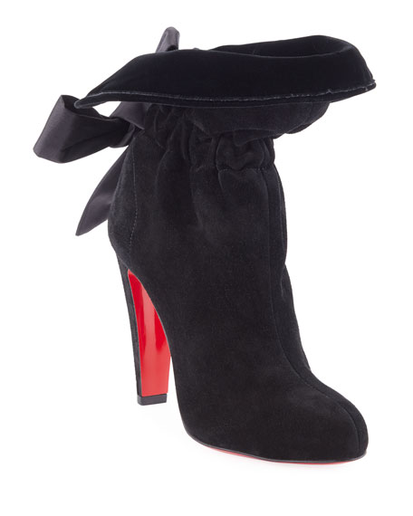 Kristofa Suede Satin-Bow Red Sole Boot