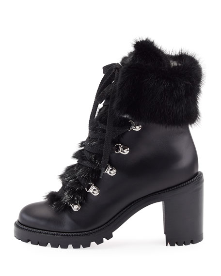 Fanny Leather Fur-Trim Red Sole Combat Boot