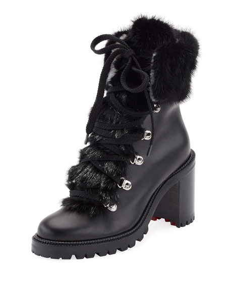 bf2bae6b232 Fanny Leather Fur-Trim Red Sole Combat Boot