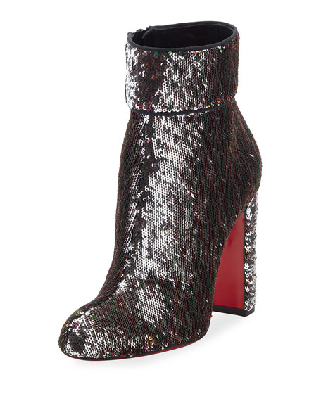 dafbfcc9cac7 Christian Louboutin Moulamax Sequined 100mm Red Sole Bootie