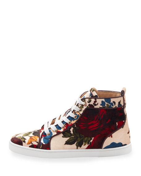 Bip Bip Velvet High-Top Sneaker, Beige