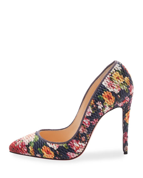Pigalle Follies Quilted Floral 100mm Red Sole Pump, Multi