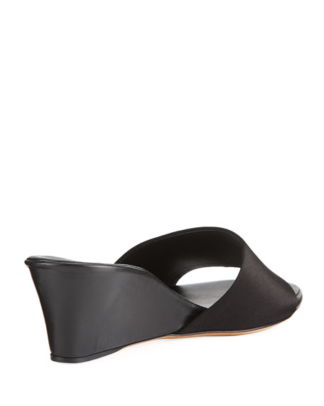Daisy Satin Wedge Mule Sandal, Black