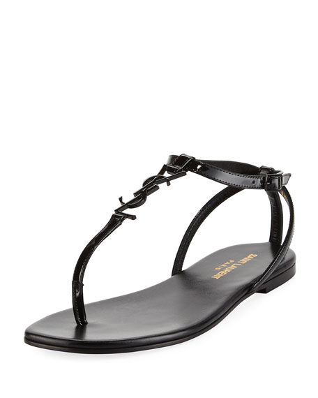 Saint Laurent Monogram Patent Flat Thong Sandal, Black