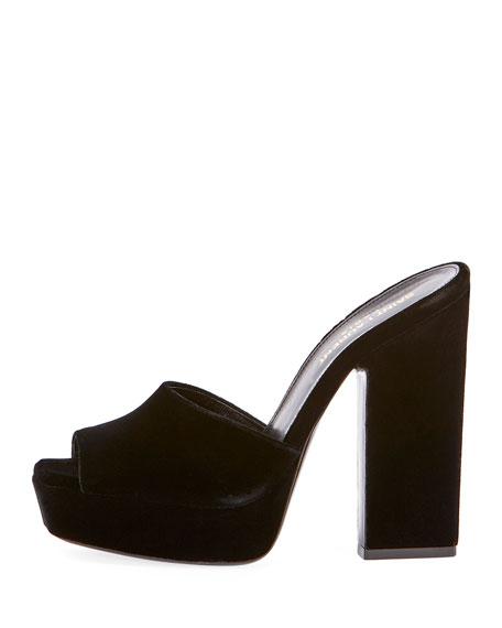 53008958b7ee Saint Laurent Debbie Velvet Platform Slide Sandal