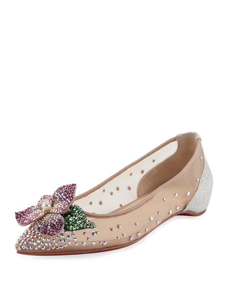 Feerica Crystal-Embellished Red Sole Skimmer, White