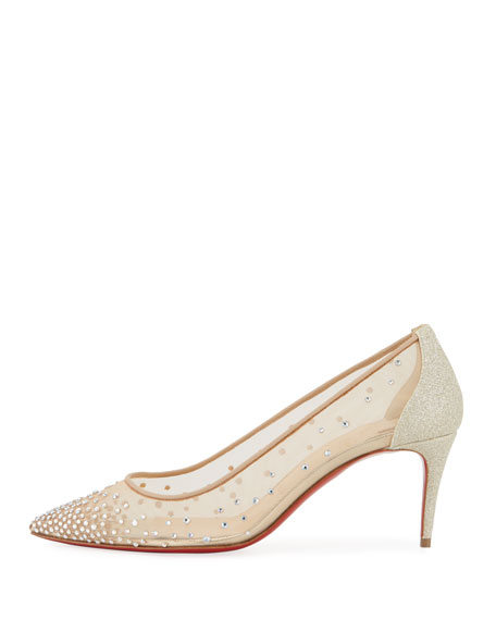 reputable site 53560 418ef Christian Louboutin Follies Strass 70mm Red Sole Pump