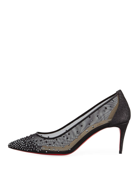 Follies Strass Mesh 70mm Red Sole Pump
