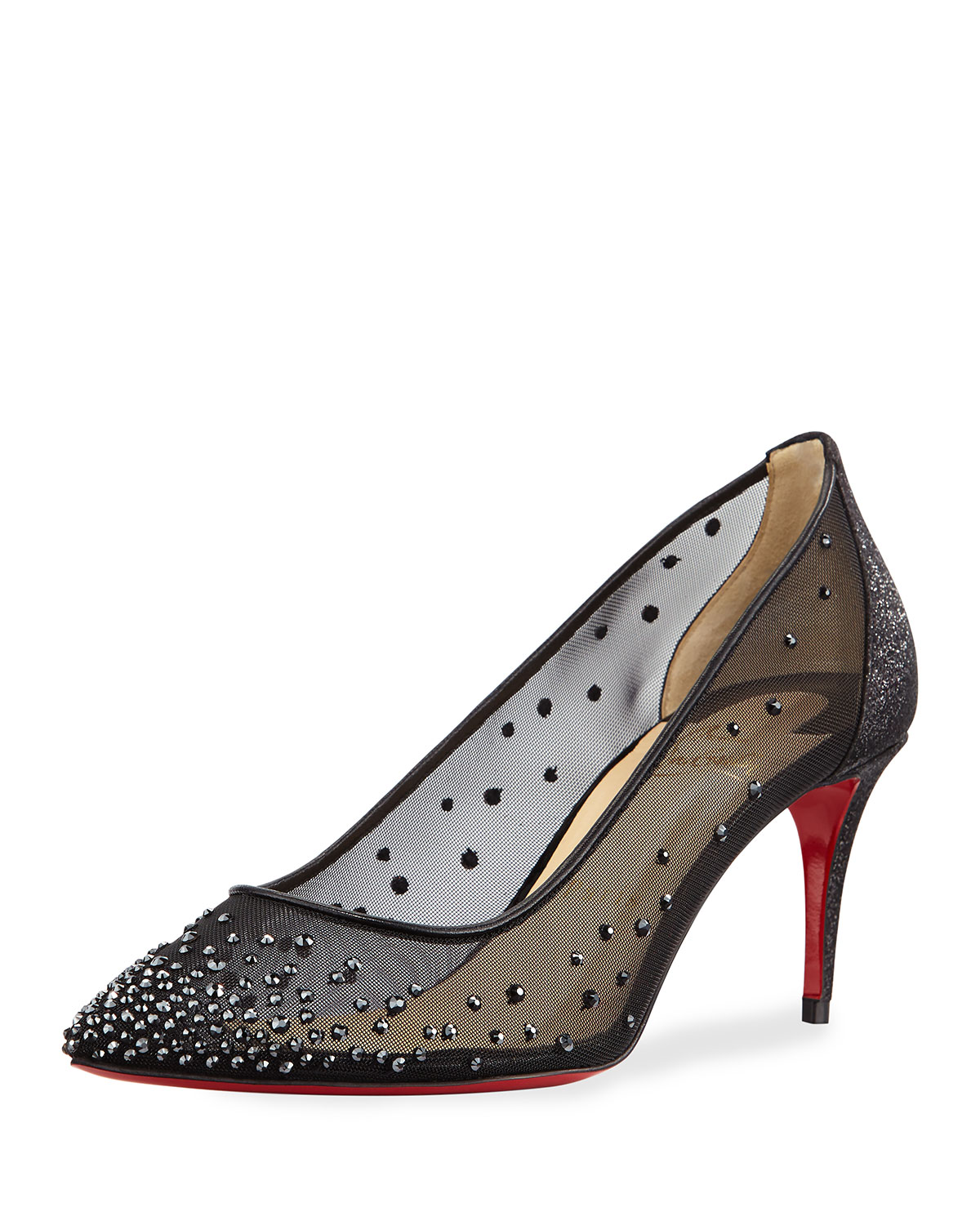 watch 5f075 0625c Christian Louboutin Follies Strass Mesh 70mm Red Sole Pump