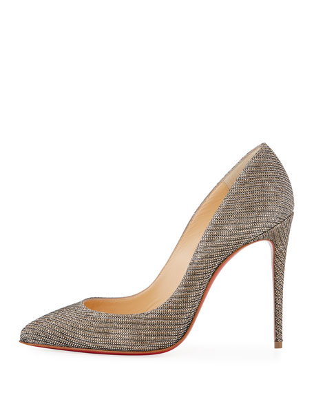 Pigalle Follies 100mm Red Sole Pump, Glitter Chain
