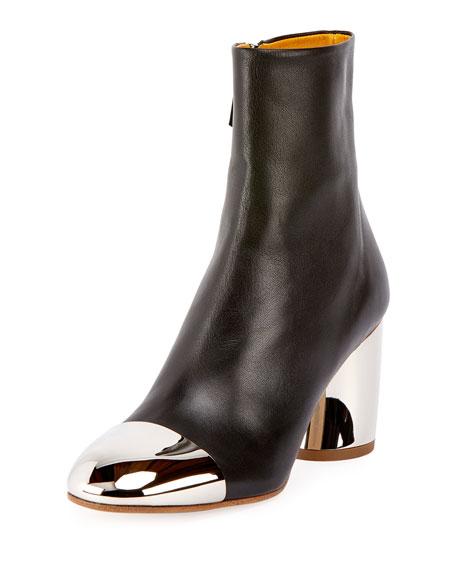 d3f9050eb02 Cap-Toe Metallic-Heel Booties Black