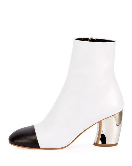 Cap-Toe Metallic-Heel Bootie, White