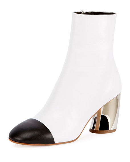 Cap-Toe Metallic-Heel Bootie, White