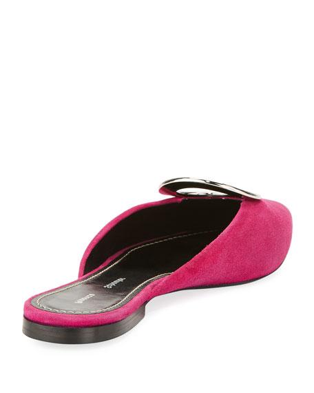 Ring-Detail Suede Mule Flat, Pink