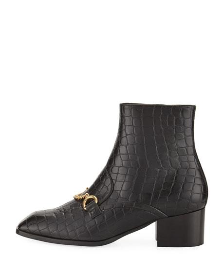 Croc-Print Block-Heel Loafer Boot