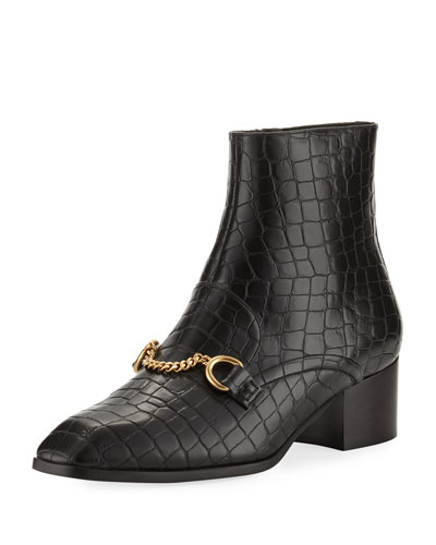 Croc-Print Block-Heel Loafer Boot