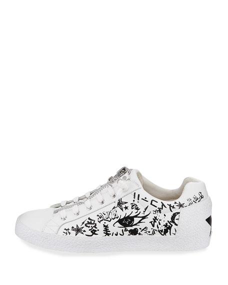 Nova Printed Leather Zip-Front Sneaker, White/Black