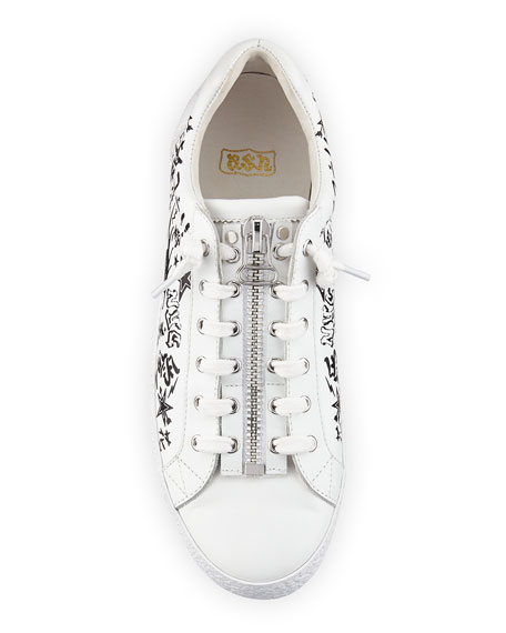Nova Printed Leather Zip-Front Sneaker, White/Black