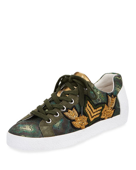 Ash Nak Embroidered Low-Top Sneaker, Green Pattern