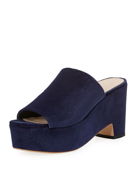 Amara Velvet Platform Slide Sandal, Eclipse