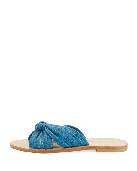 Lucia Knotted Flat Denim Slide Sandal