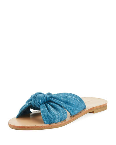 Lucia Knotted Flat Denim Slide Sandal