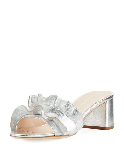 Vera Ruffled Block-Heel Mule Sandal