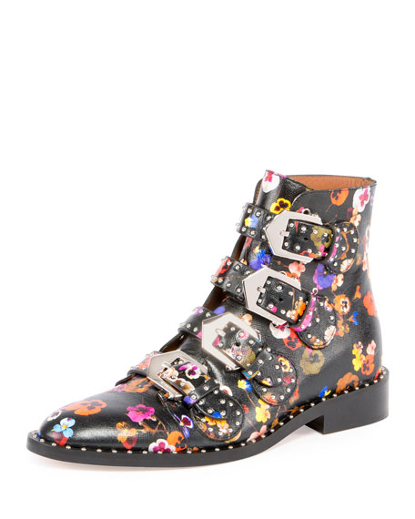 Givenchy Floral Elegant Flat Ankle Boot, Multi