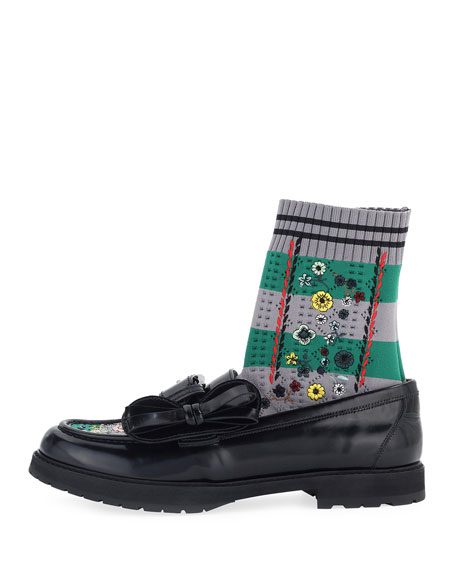 Leather Bow Loafer w/Sock Inset, Black