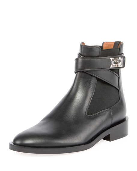 Leather Shark-Lock Wraparound Boot, Black