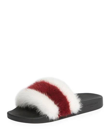 Givenchy Striped Mink Fur Slide Sandal, White/Red