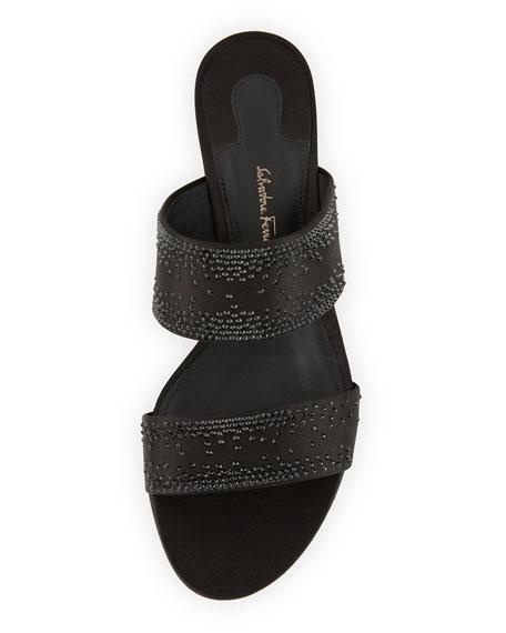 Embellished Two-Band Mule Sandal, Black