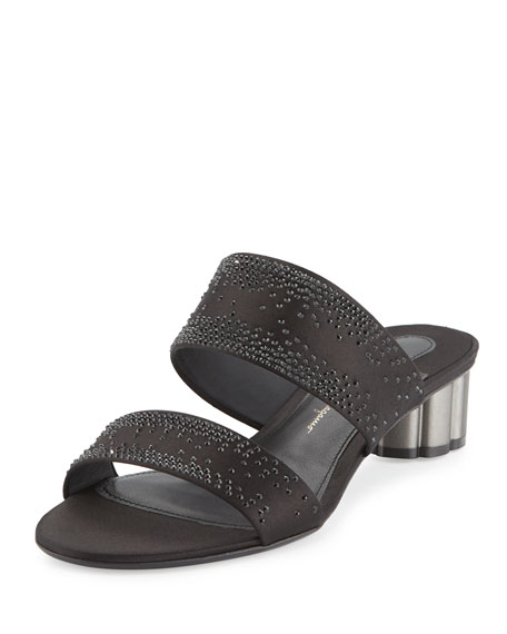 Salvatore Ferragamo Bellunos Embellished Two-Band Mule Sandal,
